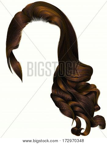 woman trendy long curly brunette hairs wig dark brown colors .  retro style . beauty fashion . realistic 3d .