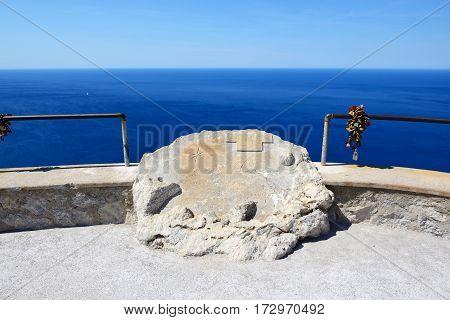 The sea view terrace near Cape Formentor in Mallorca island Spain