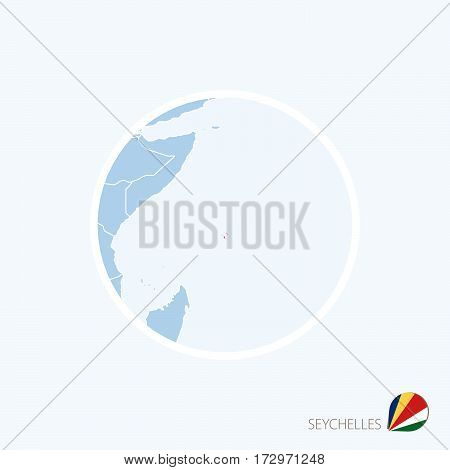 Map Icon Of Seychelles. Blue Map Of East Africa With Highlighted Seychelles In Red Color.