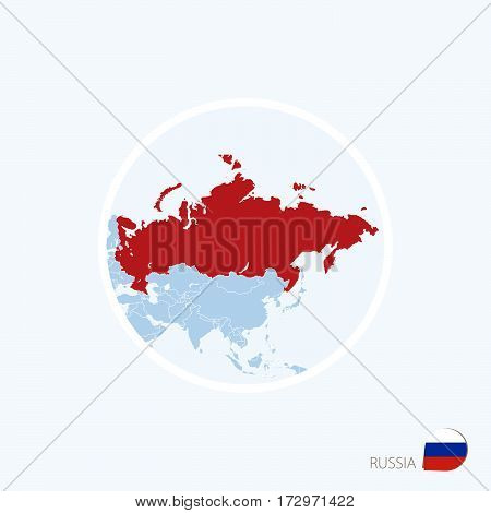 Map Icon Of Russia. Blue Map Of Europe With Highlighted Russia In Red Color.