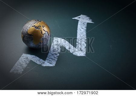 mini globe with the arrow pointing up