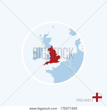 Map Icon Of England. Blue Map Of Europe With Highlighted England In Red Color.