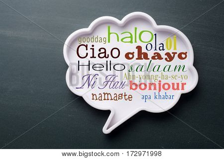speech bubble with many language of Hello