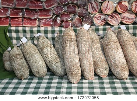 Salami Called Sopressa In Italian For Sale In The Peasant Farm