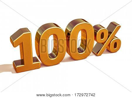 3d render: Gold 100 Percent Off Discount Sign