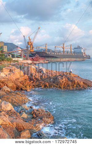 dock basin at sea bay