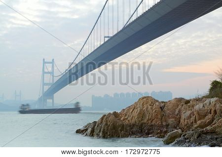Tsing ma bridge sunset,Hongkong