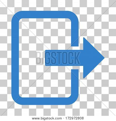 Exit Door vector pictograph. Illustration style is flat iconic cobalt symbol on a transparent background.