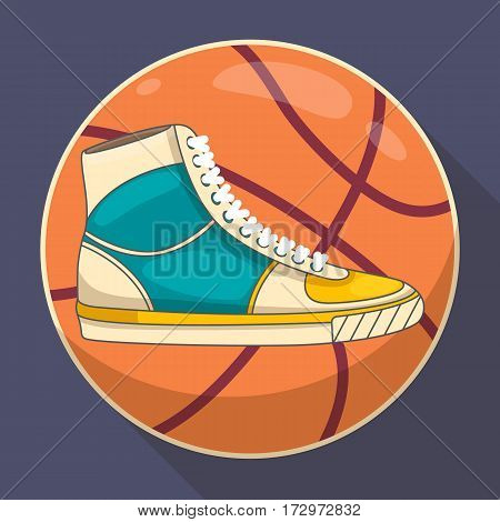 Basketball Sneakers Sport concept Vector illustration Retro style