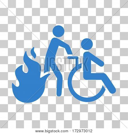 Fire Patient Evacuation vector pictograph. Illustration style is flat iconic cobalt symbol on a transparent background.