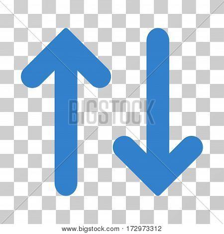 Flip Vertical vector pictogram. Illustration style is flat iconic cobalt symbol on a transparent background.