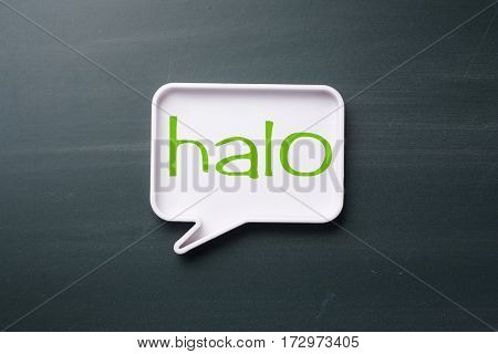 speech bubble with Indonesian hello