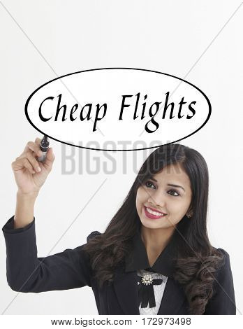 businesswoman holding a marker pen writing -cheap flight