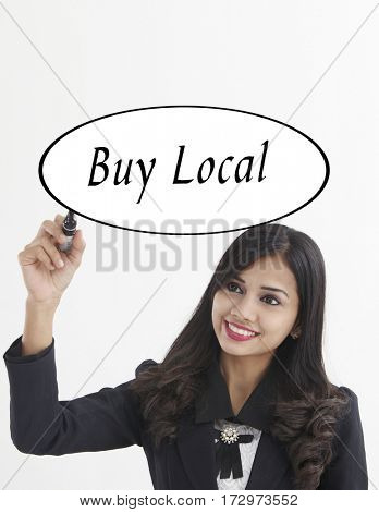 businesswoman holding a marker pen writing -buy local