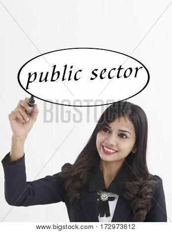 businesswoman holding a marker pen writing -public sector