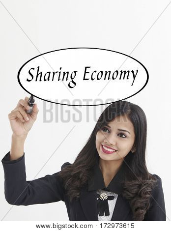 businesswoman holding a marker pen writing -sharing economy