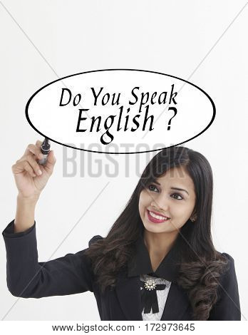 businesswoman holding a marker pen writing -do you speak english