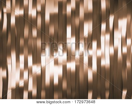 Abstract background in form of waved golden stripes. 3d rendering.