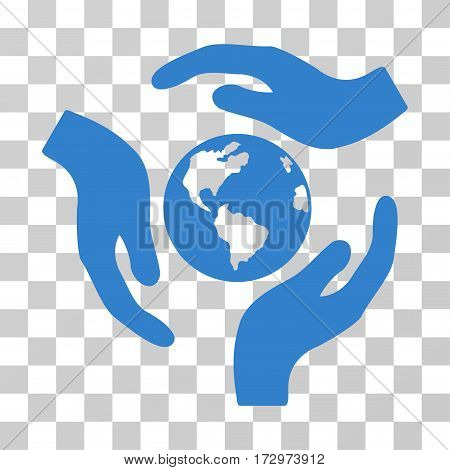 Global Care vector pictogram. Illustration style is flat iconic cobalt symbol on a transparent background.