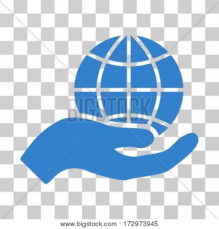 Global Care vector icon. Illustration style is flat iconic cobalt symbol on a transparent background.