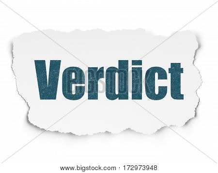 Law concept: Painted blue text Verdict on Torn Paper background with  Tag Cloud