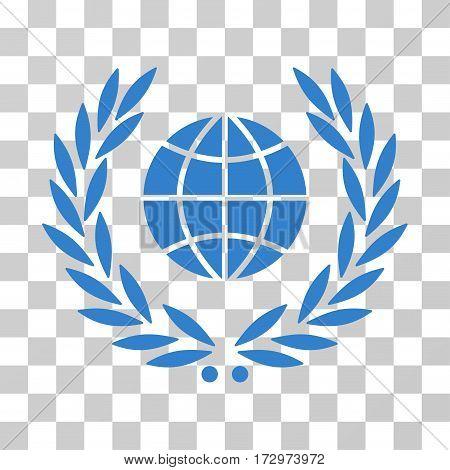 Global Emblem vector pictogram. Illustration style is flat iconic cobalt symbol on a transparent background.