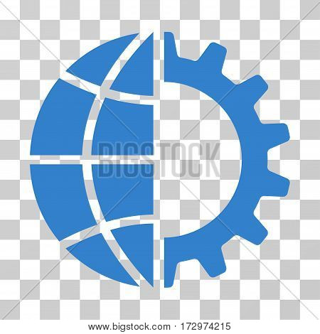 Global Industry vector pictogram. Illustration style is flat iconic cobalt symbol on a transparent background.