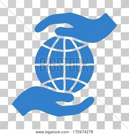 Global Insurance vector pictograph. Illustration style is flat iconic cobalt symbol on a transparent background.
