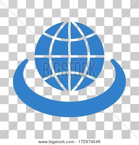Global Network vector icon. Illustration style is flat iconic cobalt symbol on a transparent background.