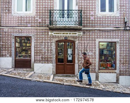 LISBON PORTUGAL - JANUARY 19 2017: Old book store in the Old Town of Lisbon portugal.