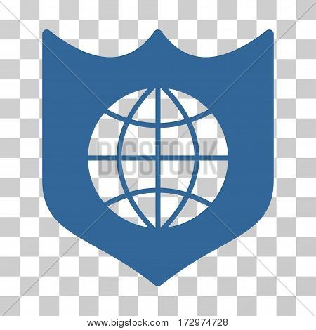 Global Shield vector pictogram. Illustration style is flat iconic cobalt symbol on a transparent background.