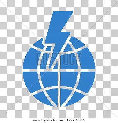 Global Shock vector pictograph. Illustration style is flat iconic cobalt symbol on a transparent background.