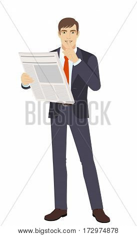 Hush hush. Businessman making hush sign. Full length portrait of businessman in a flat style. Vector illustration.