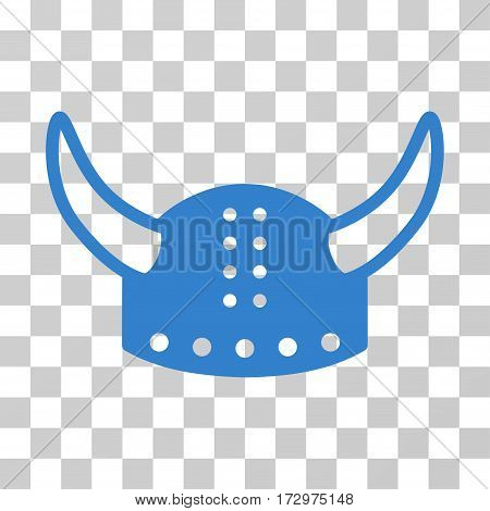 Horned Helmet vector icon. Illustration style is flat iconic cobalt symbol on a transparent background.