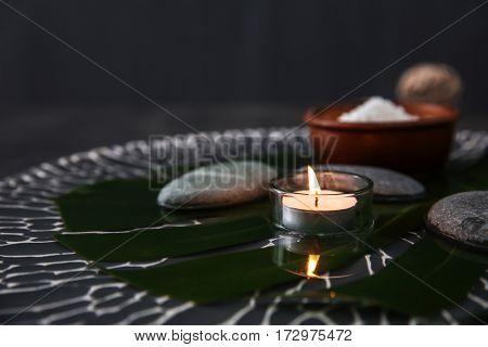 Massage setting on dark background