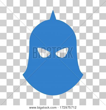 Knight Helmet vector pictogram. Illustration style is flat iconic cobalt symbol on a transparent background.