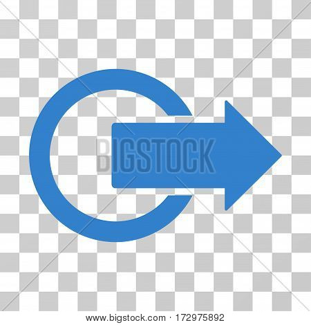 Logout vector pictograph. Illustration style is flat iconic cobalt symbol on a transparent background.