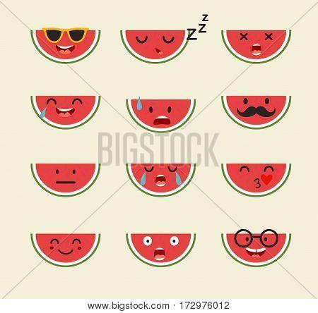 Emoticons fruit vector set. Emoji cute Watermelon with face. Cute emoji colorfull illustration. Watermelon flat cartoon style