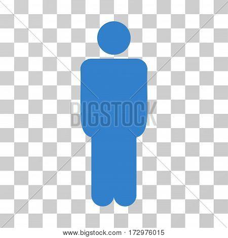 Man vector pictogram. Illustration style is flat iconic cobalt symbol on a transparent background.