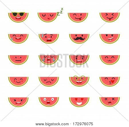 Emoticons food vector set. Emoji Watermelon with face. Cute emoji colorfull illustration. Watermelon flat cartoon style