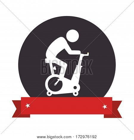 spinning bike gym icon vector illustration design