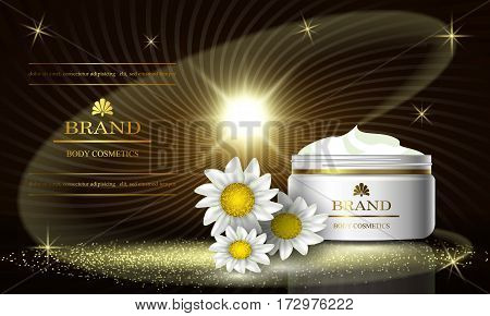 Cosmetics luxury beauty series ads of premium body chamomile cream for skin care. Template for design poster placard presentation banners cover vector illustration.