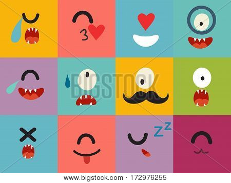 Emoticons vector pattern. Emoji cute cyclops square icons. Cute emoji colorfull illustration. Monsters flat cartoon style. Face funny halloween backgound