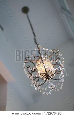 Vintage Crystal Chandelier in Quaint Chicago Café
