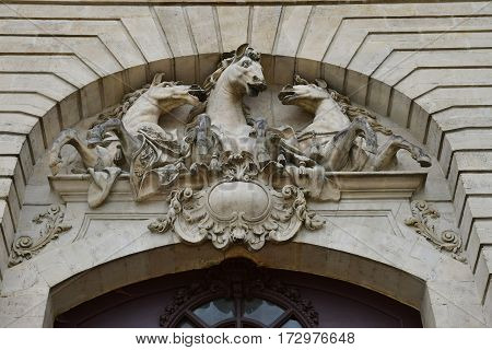 Chantilly France - august 14 2016 : the castle of Chantilly stable built in eighteen century