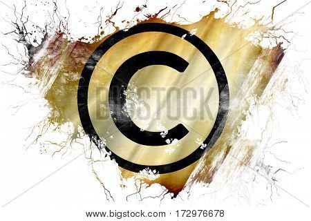Grunge old copyright symbol flag