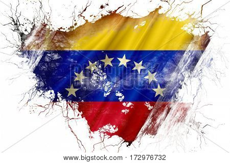 Grunge old Venezuela  flag