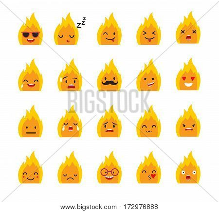 Emoticons bonfire vector set. Emoji cute Fire with face. Cute emoji colorfull illustration. Bonfire flat cartoon style