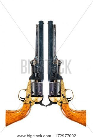 Old west cowboy pistols with room for your type.