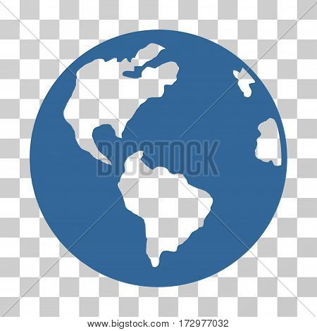Planet Earth vector pictograph. Illustration style is flat iconic cobalt symbol on a transparent background.